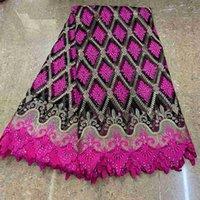 Nouvelle mode africaine Tulle Maille Ajouté guipure Tissu de haute qualité française nigérien Net dentelle Tissu avec des pierres Perles ZQ0810