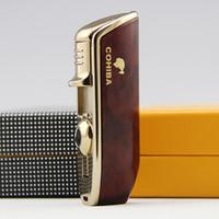 시가 가벼운 액세서리 포켓 미니 휴대용 금속 뱀 입 모양 부탄 가스 방풍 3 횃불 스프레이 라이터 펀치 ZX BH1895