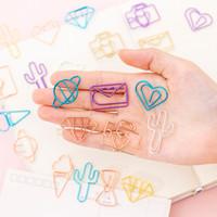 Coloffice 10Pcs / Set papier creux Creative Cartoon métal Signet clip Mignon Signet clip couleur Fournitures scolaires papier bureau