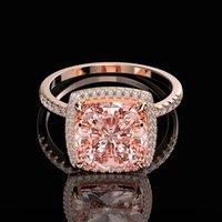 Cluster Anéis Ovas Luxo 100% 925 Sterling Silver Criado Moissanite Morganite Gemstone Casamento Noivado Anel de Jóias Fine Atacado