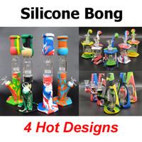 Bondos de silicone Percoladores Percubos removíveis tubos de água em linha reta Bongo de vidro Bongo com tigela de vidro Mini bongos com quartzo Banger