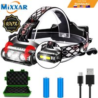 EZK20 Dropshipping T6 XPE LED Headlamp 2 Sides Rotating 3 Light Source 8 Modes Multi-Function USB COB Headlight