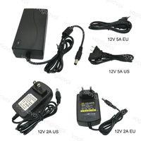Trasformatori di illuminazione Adattatore di alimentazione Adattatore US EU Plug 110-240V AC DC 12V 2A 5A Accessori per 5050 3528 LED Strip Light DHL