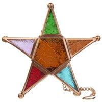 Çok renkli cam Yıldız Adak Işık Mumluk Asma Aydınlatma Fener Düğün Doğum Günü Partisi Ev Bahçe Dekor