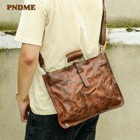 PNDME fashion retro handmade genuine leather men's women's briefcase handbags business natural real cowhide laptop messenger bag