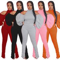 Toptan Kadın Tek Parça Tulumlar Moda Kapalı Omuz Seksi Rahat Pileli Bölünmüş Pantolon Uzun Kollu Backless Bayanlar Tulum Giyim