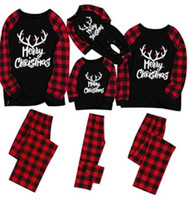 Merry Matching Pajamas Christmas Pajamas for Family Women Men Kids Baby Pjs Red Plaid Reindeer Loungewear HH9-3323