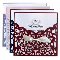 stile 10PCS Europeo Laser Cut Fiore con Bowknot Inviti di nozze carte Lace Pocket Saluto accessori per la casa della carta da festa di nozze