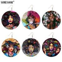 Люстра свисалка Somesoor афро допинг граффити натуральные волосы деревянные серьги капельки пузырька девушка черное искусство окрашено круглая подвеска для женщин