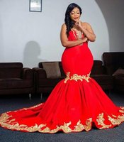 Sexy Plus Size Red Evening Dresses Mermaid Satin with Gold Lace Applique 2019 Cutom Made Prom Dress Party Gowns Sweetheart Special Occasion