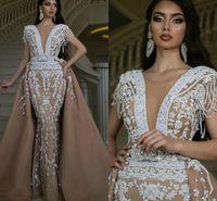 Şampanya Mermaid Akşam Pageant Elbiseler Ile Ayrılabilir Tren 2021 Lüks Boncuklu Kristal Boncuklu Arapça Balo Anlaşmaları