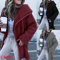 Otoño invierno mujeres peluche oso esponjoso vellón abrigo largo chaqueta abrigo caliente ropa tops femenino moda cremallera chaquetas chaquetas abrigo