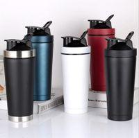 Agitar Copa 750ml taza aislada Vacío 304 Proteína deportes del acero inoxidable termo botella de leche taza de café con tapa al por mayor de la coctelera