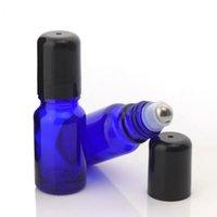 زجاجات التخزين الجرار 12PCS 10ML لفة على زجاجة للزيوت الأساسية الزجاج الأزرق الكوبالت فارغة مع الفولاذ المقاوم للصدأ الأسطوانة الكرة العطور lipglos