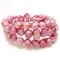 7.5-8 дюйма 8-9мм Baby Pink Natural Барокко Nugget Pearl Memory Wire Браслет