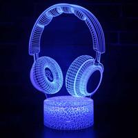 7 Color Touch interruptor de controle remoto LED luzes New Headphone forma de tabela 3D lâmpadas 3D Atmosfera Night Light