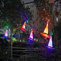 Décoration d'Halloween chapeau de sorcière Bandage LED Lights Cap Halloween Costume Props extérieur Hanging Tree ornements Accueil Party Glow Décor VT1607