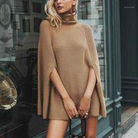 Allentato Pullover Maglione fatto a maglia signore casuali Autunno solido di colore femminile designer di abbigliamento Donne Maglioni blocco del manicotto autunno