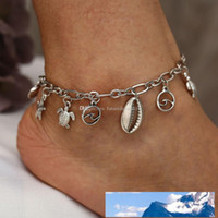 estilo retro mujeres de Bohemia pulseras tobilleras de plata tibetana antigua de mar estrellas de mar de la concha de tortuga colgante de perlas de playa pie de la cadena al por mayor de la yoga