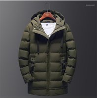Button Fly Homme Cotton Padded Jacket Fashion Solid Mens Long Parkas Designer Thick Winter Mens Coats Zipper And