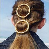 Lystrfac redondo simple forma de círculo Hairclip para las mujeres forman la horquilla de aleación de oro de la astilla de Headwear de los accesorios del pelo