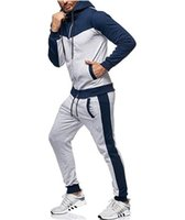 Men Tracksuit Fashion Striped Panelled Suit Casual Hooded Zi...