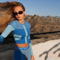 Женщины Двухструктурные брюки Мода Контрастный Цвет Письмо Узор С Длинным Рукавом Топы Женские Двухструктурные Наборы Устройства Actice Outifits Yoga