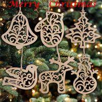 2020 크리스마스 장식 크리스마스 편지 나무 패턴 크리스마스 트리 장식 홈 축제 장식품 가방 FY7173 당 선물 6 PC를 걸려