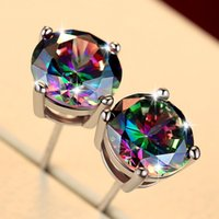 Korean Style Rainbow Stone Stud Earrings For Men & Women Sim...