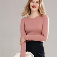 Frauenpullover Lhzsyy 2021 Kollektiv 100% reine Wollpullover Frauen High-End Rundhals-Herbst Strick-Hemd Pullover Slim Stretch Cashmere