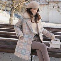 Abrigos de la zanja para mujer Fahion Blend Coat 2021 Ropa de invierno Moda cálida Weolen mezclas femenino elegante doble lana de lana # A3