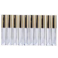 10pcs 10ml Lipgloss Tubo Labial Circular tubos vazios Lip Gloss tubo plástico Corpo Lip Glaze garrafa para Perfume Feminino (Ouro)