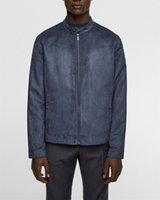 가을 남성 패션 슬림 칼라 자켓 도시 남성 디자이너 코트 가짜 스웨이드 스탠드 남성 디자이너 재킷