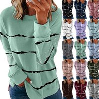 5XL Tie окрашенные Полосатый Пуловеры Толстовки Осень с длинными рукавами футболки шею Сыпучие Блузы Рубашка Casual Sport Печатное Женские топы D91714