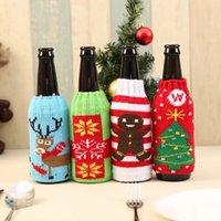 Bouteille de vin de Noël couverture de flocon de neige renne Elk Motif bière Couverture Père Noël Couverts Décoration Stocking Porte-cadeau de Noël Décor YFA2529