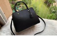 Siyah Montaigne'in çanta Kabartma Tote Kadınlar Deri Omuz Çanta Çiçek Baskı Çanta Crossbody büyük alışveriş Messenger Çanta
