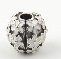 Silver Darling Daisy Meadow Clip Charm Bead with White Enamel Fits European Pandora Jewelry Bracelets & Necklacesps2045
