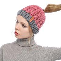 Mütze / Schädel Caps Hut Frauen Herbst und Winter Koreanische Version des leeren Top-Farbschnitts Warmer Tasche Kopf Out-Horseail-Hüte