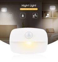 ليلة ليلة ضوء LED يمكن لصق أضواء مصابيح يلة استشعار الحركة جدار مناسبة ضوء لخزانة، وممر ومطبخ