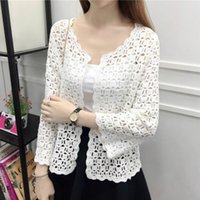 2019 Autumn Summer Crochet White Lace Blouse Women Fashion T...