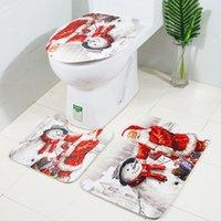 Duschvorhänge Weihnachtsmann Weihnachtsdrucken Toilette Badezimmer Matte und Vorhang Vier-teiliges Set Küchenppiche Matten Bodenteppich Fußboden # 30