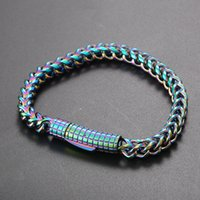 6mm hip hop 316l chaîne en acier inoxydable bracelets en acier titane bracelets d'hommes cool hommes bijoux colorés