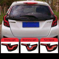 2pcs voiture LED Feu arrière Feu arrière pour Honda FIT JAZZ GK5 2014-2018 lampe brouillard arrière + feu stop + arrière + Dynamic Turn Signal