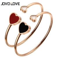 Mode Noir Rouge MSX Love Heart Bangle clair Zircon coeur femmes dames Bangles or en acier inoxydable Bracelets Bracelets pour les femmes