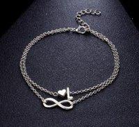 HOT Jahrgang 26 Brief Fußkettchen Armbänder Weibliche Initialen-Herz-Infinity-Charm Bohemian Freund Schmuck Geschenk Ankles Armband für Frauen Mädchen