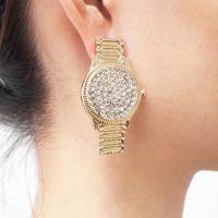 Stud Luxury Crystal Watch Ohrringe für Frauen Einzigartiges Design Punk Rhinstone Erklärung Schmuck Geschenk Uken