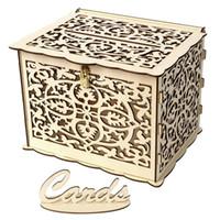 Svuota la cassa di stoccaggio della carta dell'RMS Cassa di immagazzinamento del legno del contenitore di regalo del riquadro di nozze del contenitore di nozze con il container quadrato di serratura 19 5JMA G2