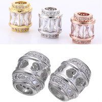 VENTA caliente! Rose de plata color oro CZ del oro circón perlas sólidas europeas del encanto para las pulseras collares