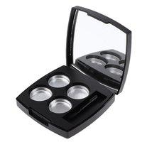 눈썹 도구 스텐실 블랙 빈 메이크업 아이 섀도우 프레스 파우더 컨테이너 케이스 4 라운드 알루미늄 팬 팔레트 거울 및 브러시