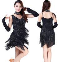 Nuovo arrivo! Costumi Latin Dance Dress Bretelle Tassel Stage Performance Latin Dance Pratica / Concorso Paillettes Abbigliamento